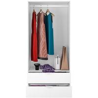 Armoire avec 2 tiroirs et 2 portes coloris Blanc en melamine - Dim: 180 x 81 x 52 cm -PEGANE-.