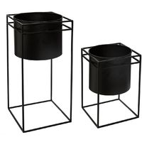 Set de 2 Pots noir avec support en métal -PEGANE-