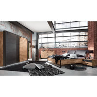 Ensemble chambre adulte complète Imitation chêne poutre rechampis raw steel - 180 x 200 cm -PEGANE-
