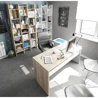 Bureau + caisson avec 3 tiroirs Chêne canadian / Blanc Artik- Dim : 73 x 145 x 108 cm -PEGANE