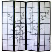 Paravent bois noir avec dessin bambou noir - 4 pans