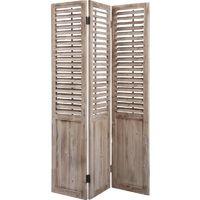 Paravent en bois vieilli avec Persiennes mobiles de 3 panneaux - 43 x 3 x 182 cm