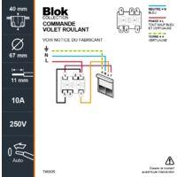 BLOK INTERRUPTEUR VOLET ROULANT BLANC