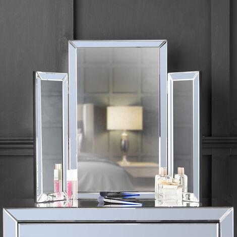 CARME Paloma Tri-Fold Mirror Bevelled Glass Design Folded Tabletop Makeup Bedroom Dressing Vanity Table (Grey)