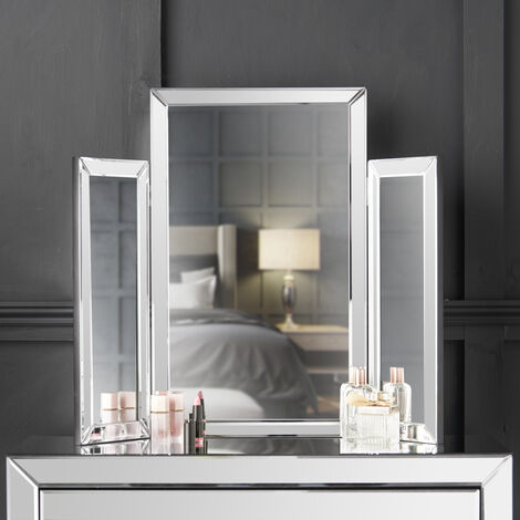 CARME Paloma Tri-Fold Mirror Bevelled Glass Design Folded Tabletop Makeup Bedroom Dressing Vanity Table (Silver)