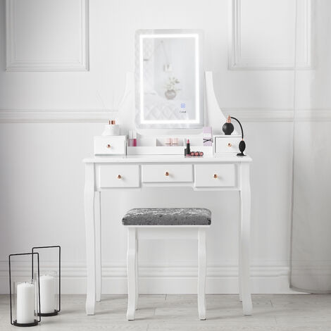 Savannah White Dressing Table with Vanity Touch Mirror LED Lights and 5 Drawers Stool Set For Bedroom Makeup Jewellery Storage