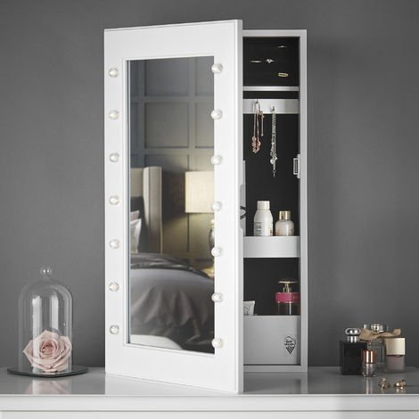 CARME Katie - Wall Mounted/Tabletop Jewellery Mirror Cabinet with LED Lights Shelves Makeup Storage White