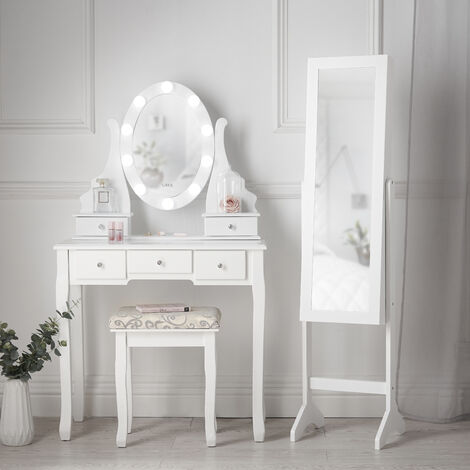 Savannah x Renee Set White Hollywod Bulbs Mirror Dressing Table Set Stool Full Length Jewellery Cabinet Makeup Organizer