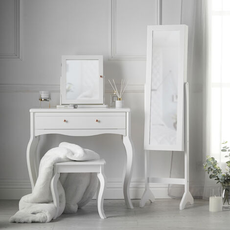 Sorrento x Caitlyn Dressing Table with Mirror and Stool Jewellery Cabinet Makeup Organizer White Set