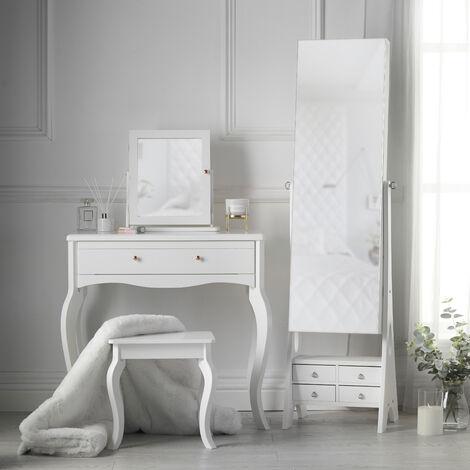Sorrento x Nikita White Set Dressing Table with Mirror and Stool Jewellery Cabinet Makeup Organizer