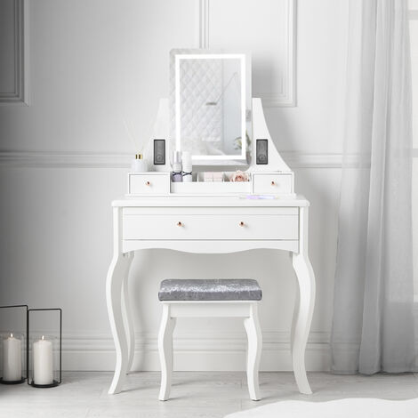 Anastasia White Dressing Table with LED Lights and Bluetooth Speakers