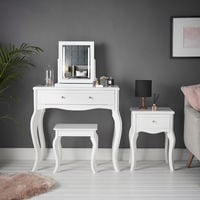 Sorrento - White Dressing Table Side Table With Drawer Rose Gold Handles Stool and Mirror with LED Lights Four Piece Set