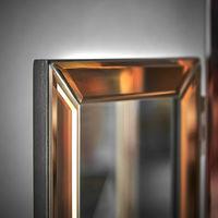CARME Paloma Tri-Fold Mirror Bevelled Glass Design Folded Tabletop Makeup Bedroom Dressing Vanity Table (Rose Gold)