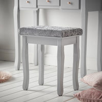 CARME Savannah Grey Dressing Table with Touch Mirror LED Light 5 Drawers Stool Set Vanity Dresser Bedroom Furniture Makeup Jewellery Storage