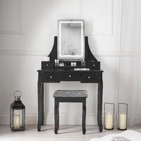 Savannah Black Dressing Table with Touch Sensor LED Lights Stool Set