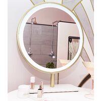 Ibiza Bohemia Velvet Dressing Table with LED Touch Sensor Mirror in Storm Grey