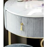 Ibiza Bohemia Velvet Dressing Table with LED Touch Sensor Mirror in Dove Grey