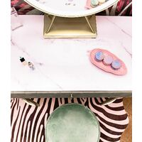 Miami Deco Velvet Dressing Table with LED Touch Sensor Mirror in Sage Green