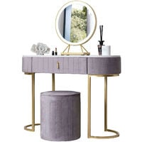 Miami Deco Velvet Dressing Table with LED Touch Sensor Mirror in Dove Grey