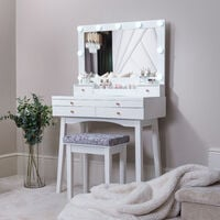 Taylor White Dressing Table with Oversized Hollywood Mirror