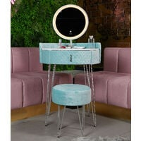 French Riviera Baby Blue Velvet Dressing Table with LED Touch Sensor Mirror