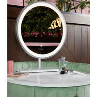 French Riviera Sage Green Velvet Dressing Table with LED Touch Sensor Mirror