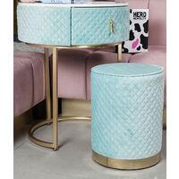 Ibiza Bohemia Baby Blue Velvet Dressing Table with LED Touch Sensor Mirror