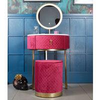 Ibiza Bohemia Sexy Raspberry Velvet Dressing Table with LED Touch Sensor Mirror