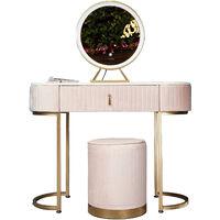 Miami Deco Ballerina Pink Velvet Dressing Table with LED Touch Sensor Mirror