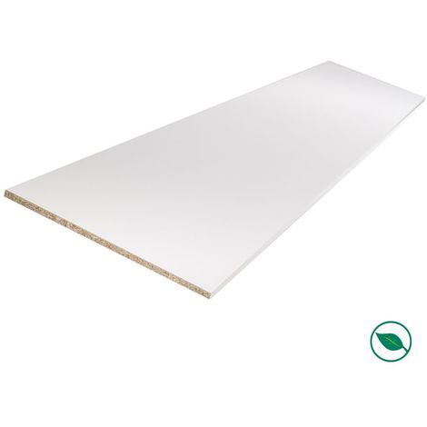 Tablette mélaminé blanc 2500 x 600 x 18 mm - PEFC 75% .