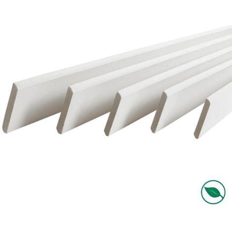 Pack promotionnel de 5 plinthes MDF revetu blanc bord arrondi 2000 x 95 x 9 mm - PEFC 70%.