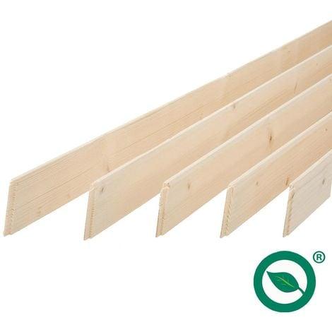Pack promotionnel de 5 plinthes sapin massif petits noeuds bord droit 2050 x 68 x 9 mm - PEFC 70%.