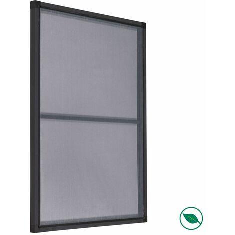 Moustiquaire kit cadre fenêtre blanc standard + moustiquaire grise 120 x 100 cm.