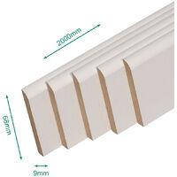 Pack promotionnel de 5 plinthes MDF revetu blanc bord arrondi 2000 x 68 x 9 mm - PEFC 70% .