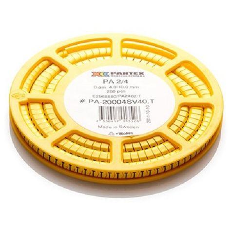 "Partex PA-20004SV40.9 - 250 x cables Marcadores PA 2/4 - letra ""9"" - Dia 4-10mm - Amarillo"