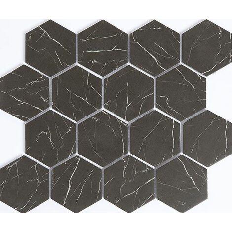 Plaque de mosaique 29,8 CM x 25,9 CM en verre émaillé noir mat, forme hexagone, 73 MM - Couleur : noir mat imitation marbre