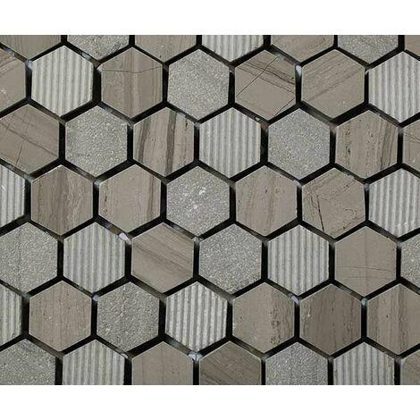 Plaque de mosaique 30 CM x 30 CM en pierre moca gravée, forme hexagone, hex 23*10 MM - Couleur : moca