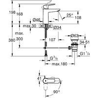 BauEdge Miscelatore monocomando per lavabo Taglia M 23759000
