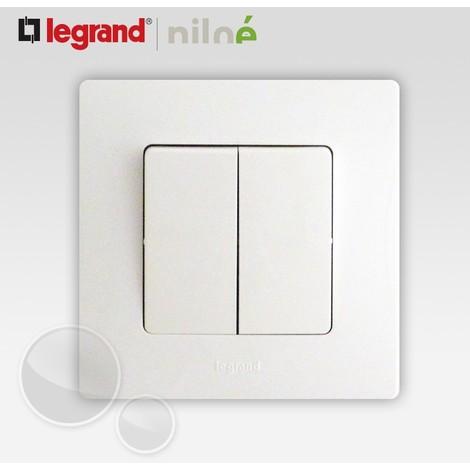 Double interrupteur ou va et vient complet Legrand Niloe Pur Blanc