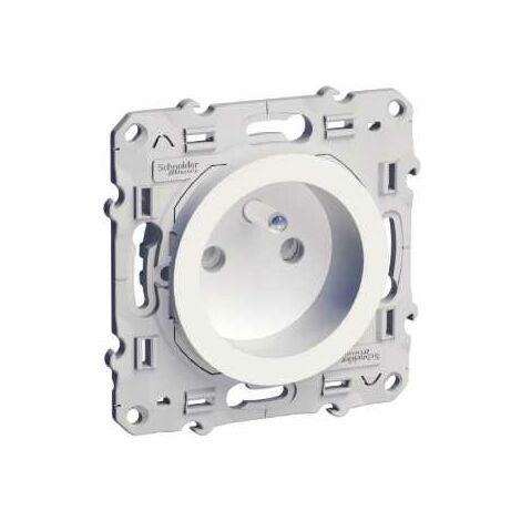 Prise de courant 2P+T Blanc Schneider Electric Odace a Connexion Rapide