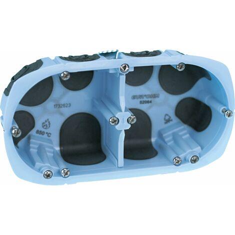 Boite d'encastrement Etanche Eurohm cloison sèche a vis - 2 postes - Entraxe 71mm prof. 40mm