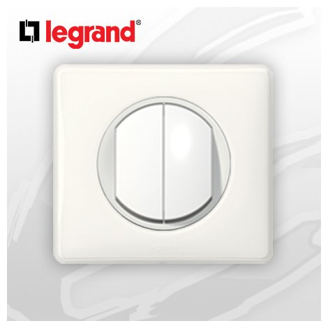 interrupteur Va-et-vient Double complet Legrand Celiane Blanc Glossy Yesterday (doigt large)