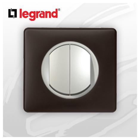 interrupteur Va-et-vient Double complet Legrand Celiane Basalte Poudré (doigt large)