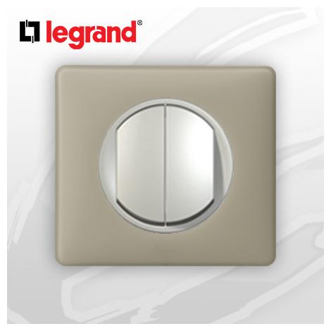 interrupteur Va-et-vient Double complet Legrand Celiane Argile Poudré (doigt large)