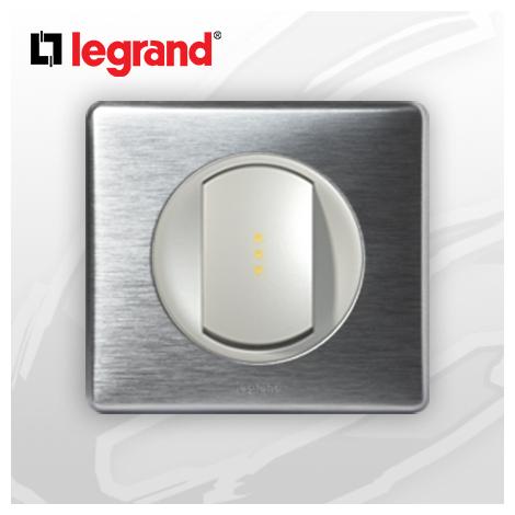 interrupteur Va-et-vient a Voyant complet Legrand Celiane Alu Métal (doigt large)