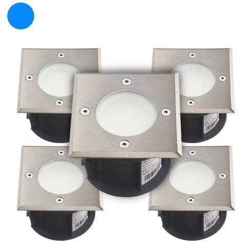 Pack de 5 Spots encastrables LED SMD VEGAS Inox 316L 12V carrés (montage en série avec 2 presses étoupe) FROST 2W IP67 Bleu HIPO