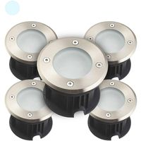 Pack de 5 Spots encastrables LED SMD VEGAS Inox 316L 12V ronds (montage en série avec 2 presses étoupe) FROST 2W IP67 Blanc Froi
