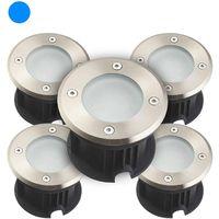 Pack de 5 Spots encastrables LED SMD VEGAS Inox 316L 12V ronds (montage en série avec 2 presses étoupe) FROST 2W IP67 Bleu HIPOW