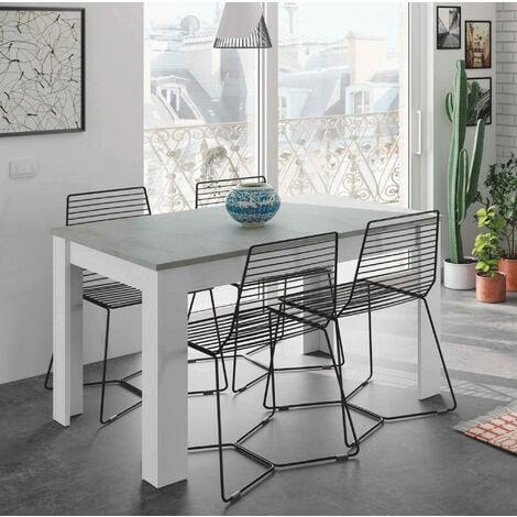 Table de salle à manger extensible Dmora Caruso, couleur béton et blanche artik, 78 x 140 x 90 cm