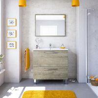 Dmora Meuble de bain à une porte inclinable et miroir, couleur chêne alaska, cm 80 x 80 x 45